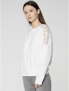 White Lace Detail Sweatshirt