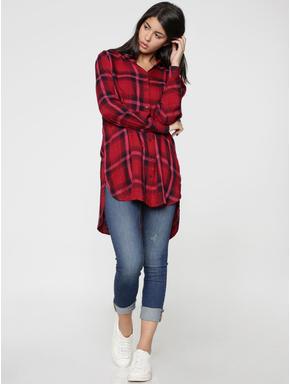 Black & Red Check Long Shirt