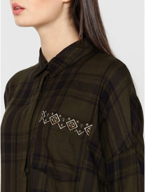 Olive Green Aztec Embroidered Check Shirt