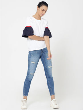 Blue Distressed Mid Rise Slim Fit Jeans