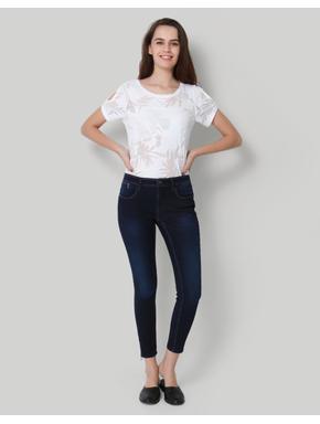Dark Blue Mid Waist Ankle Length Skinny Jeans
