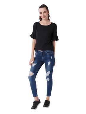 Dark Blue Ruffle Sleeves T-Shirt