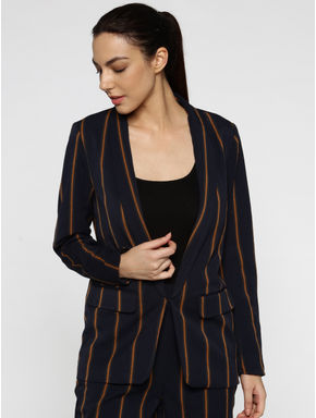 Dark Blue Lapel Collared Striped Blazer