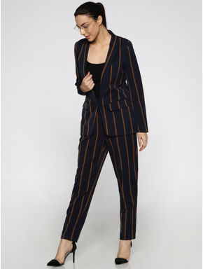 Dark Blue Striped High-Rise Casual Pants