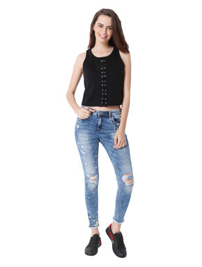 Black Corset Style Lace Up Crop Top