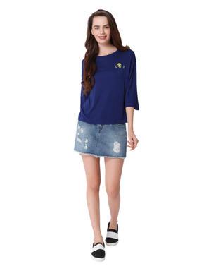 Blue Alien Print T-Shirt