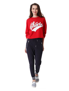 Red Text Print Ruched Sleeves T-Shirt