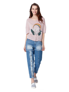 Pink Rainbow Print Corset Style T-Shirt