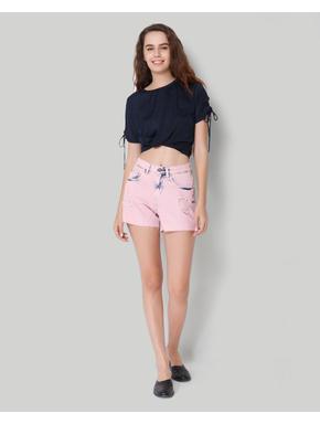 Pink Mid Waist Distressed Shorts