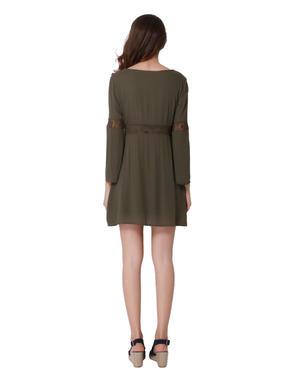 Olive Green Crochet Insert Mini Dress