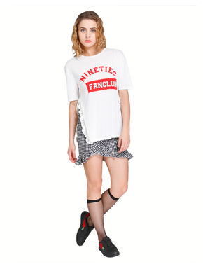 White Text Print Frill Sides T-Shirt