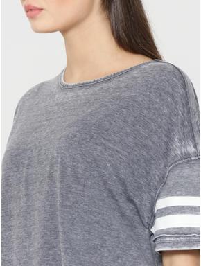 Grey Drop Shoulder Striped Box T-Shirt
