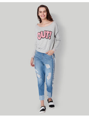 Light Grey OUT Print Pullover