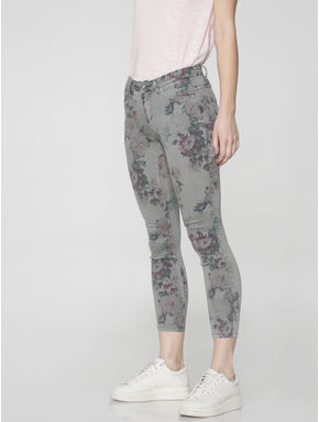 Grey Mid Rise Floral Printed Ankle Length Skinny Fit Jeans