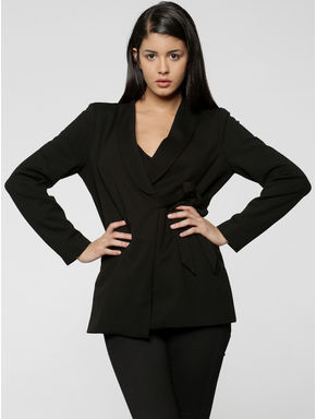 Black Wrap Tie Up Blazer