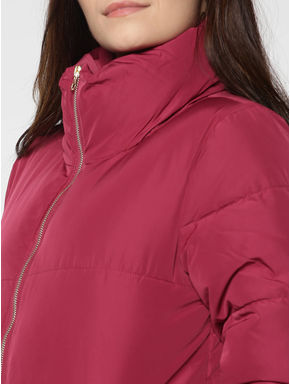 Red High Neck Quilted Jacket