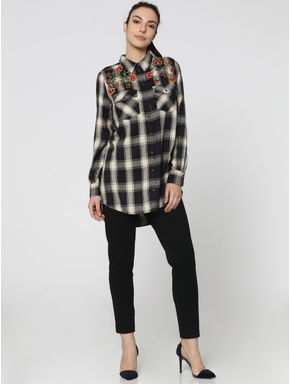 Black Embellished Loose Fit Check Shirt