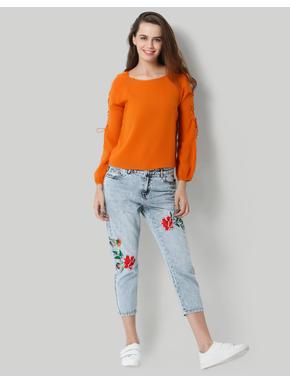Orange Lace Up Sleeves Top