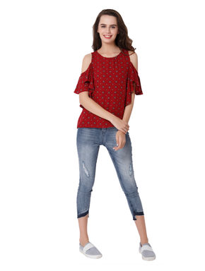 Red All Over Print Cold Shoulder Top