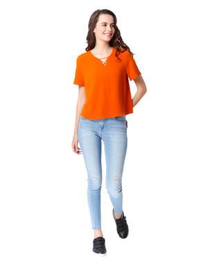Orange Split Sleeves Top