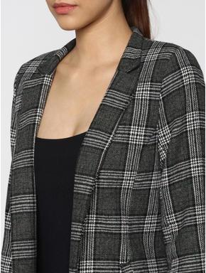 Black Check Wool Overcoat