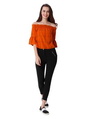 Orange Off Shoulder Check Top