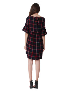 Dark Blue and Red Check Shift Dress