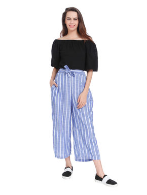 Blue Striped Tie Waist Mid Rise Pants