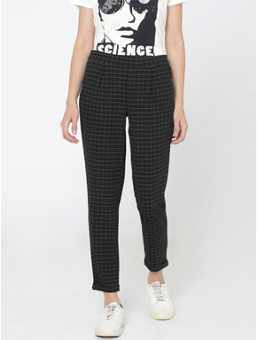 Black Check Mid Rise Regular Fit Pants