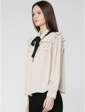 Grey Tie-Up Bow Ruffle Detail Shirt