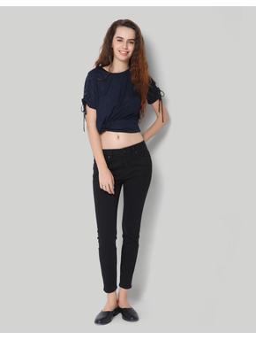 Black Low Rise Ankle Length Skinny Denim
