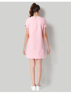 Pink Badge Detail Shift Dress