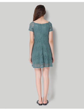 Green Lace Self Printed Short Sleeve Skater Dress