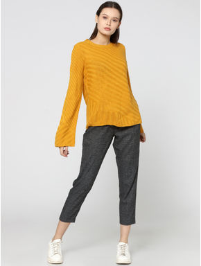 Mustard Flared Sleeves Pullover