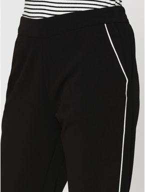 Black Piping Detail Mid Rise Pants