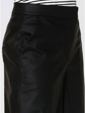 Black Faux Leather Mid Rise Culottes