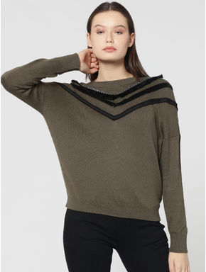 Green Embellished Pullover
