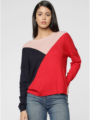 Red Colourblocked Pullover