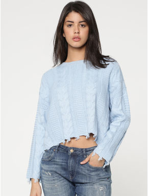 Blue Relaxed Fit Flat Knit Pullover