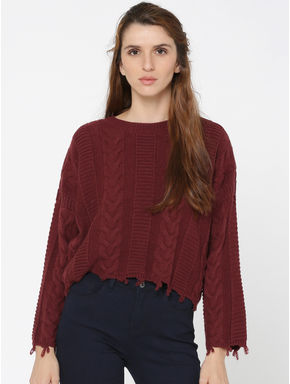 Maroon Relaxed Fit Flat Knit Pullover
