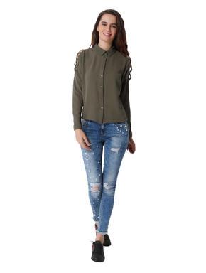 Olive Green Criss Cross Detail Shirt
