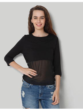 Black Round Neck 3/4Th Sleeve Side Strings Top