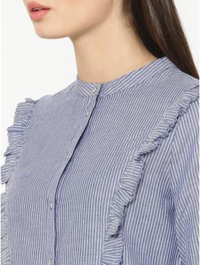 Blue Striped Frill Detail Shirt