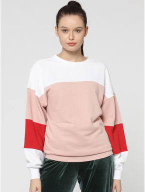 Pink Colourblocked Sweatshirt