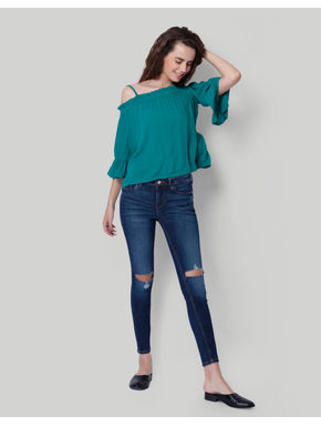 Green Cold Shoulder Ruffle Sleeves Top