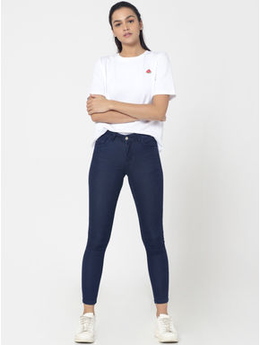 Dark Blue High Waist Slim Fit Jeans