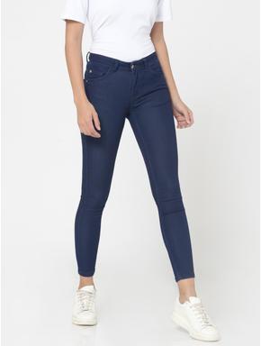 Dark Blue High Waist Slim Fit Jeans