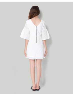 White 3/4Th Bell Sleeve Cotton Cutwork Short Shift Dress