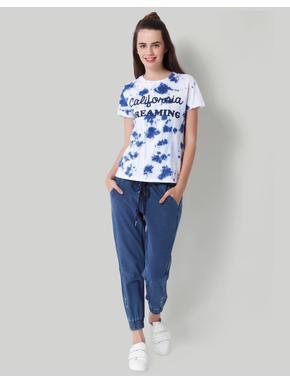 Blue Tye Dye Print T-Shirt