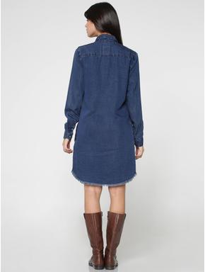 Dark Blue Denim Shirt Dress